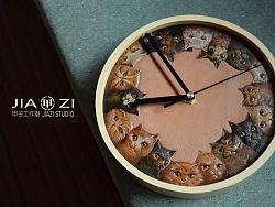 甲子工作室  原创皮雕  时间的猫