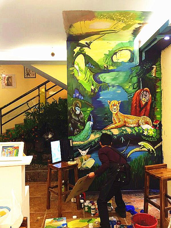 热爱的事情 热带雨林墙绘-热爱的事情