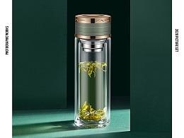 干净通透、有质感玻璃杯拍摄 透明水杯 办公商务杯精修