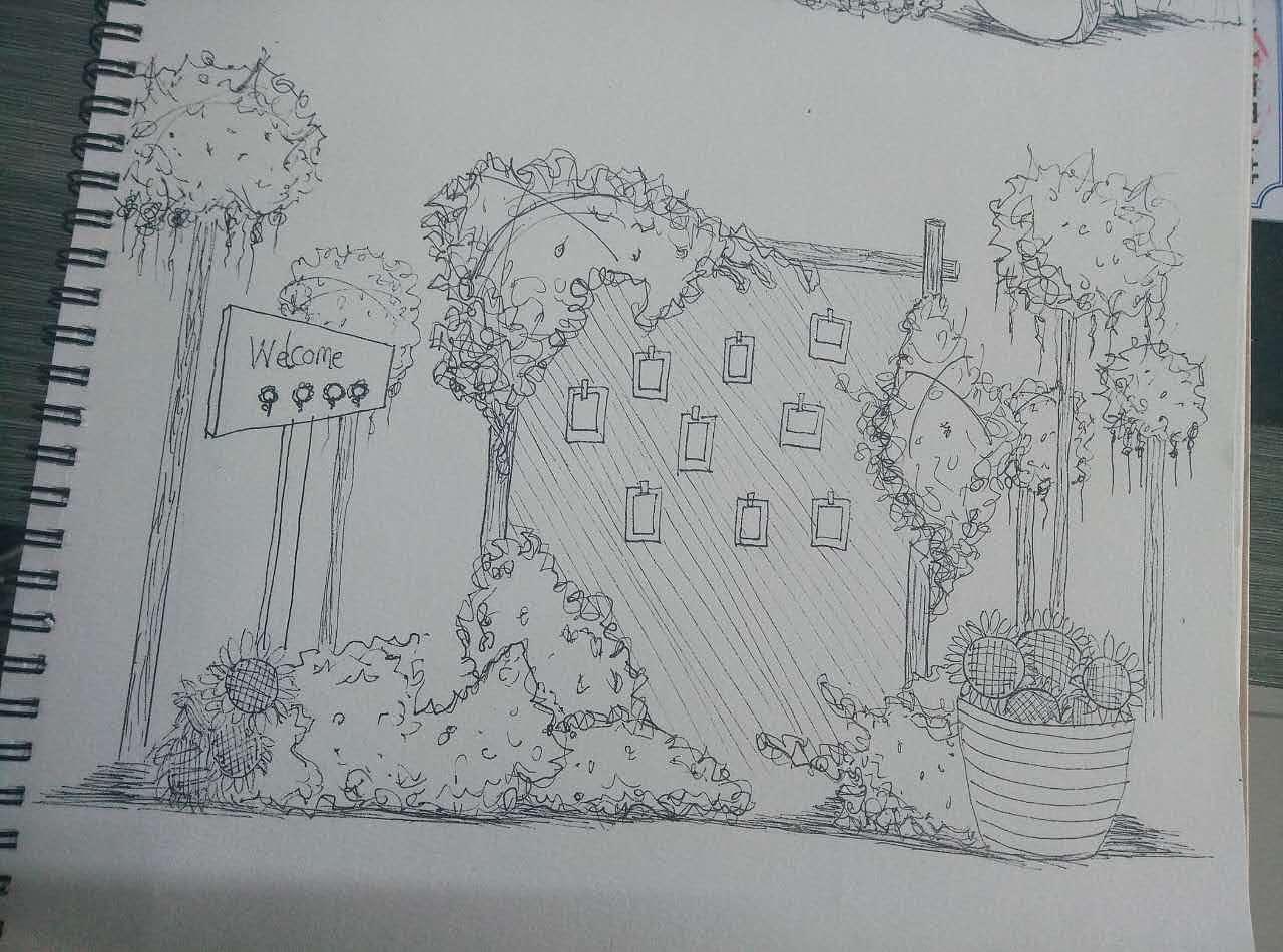 草坪婚礼手绘