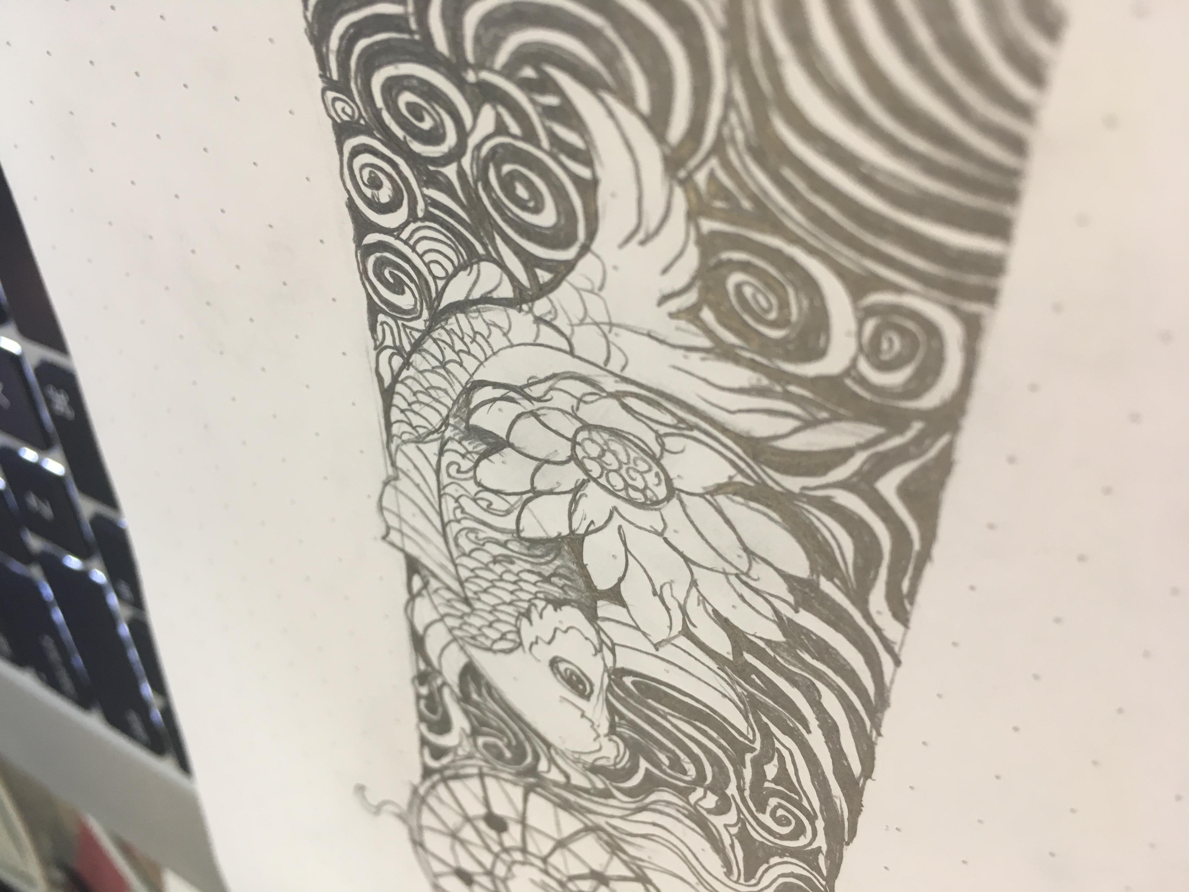 花臂纹身手稿_高迪花臂纹身手稿