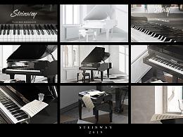 C4d钢琴渲染