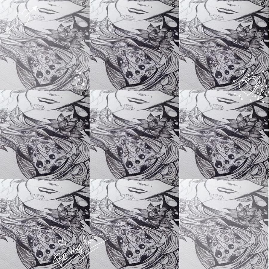 【母亲】黑白线条装饰画