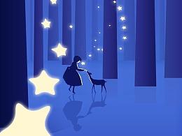 孩子,星星与鹿—插画临摹