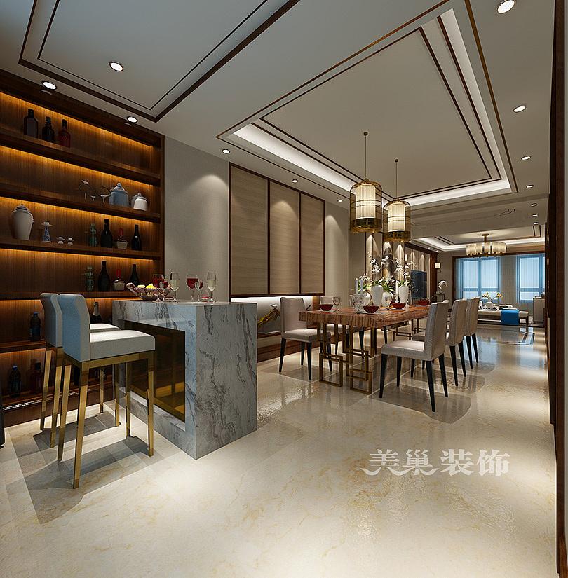 中森林语美墅3室2厅户型装修中式效果图,餐厅与吧台酒柜图片