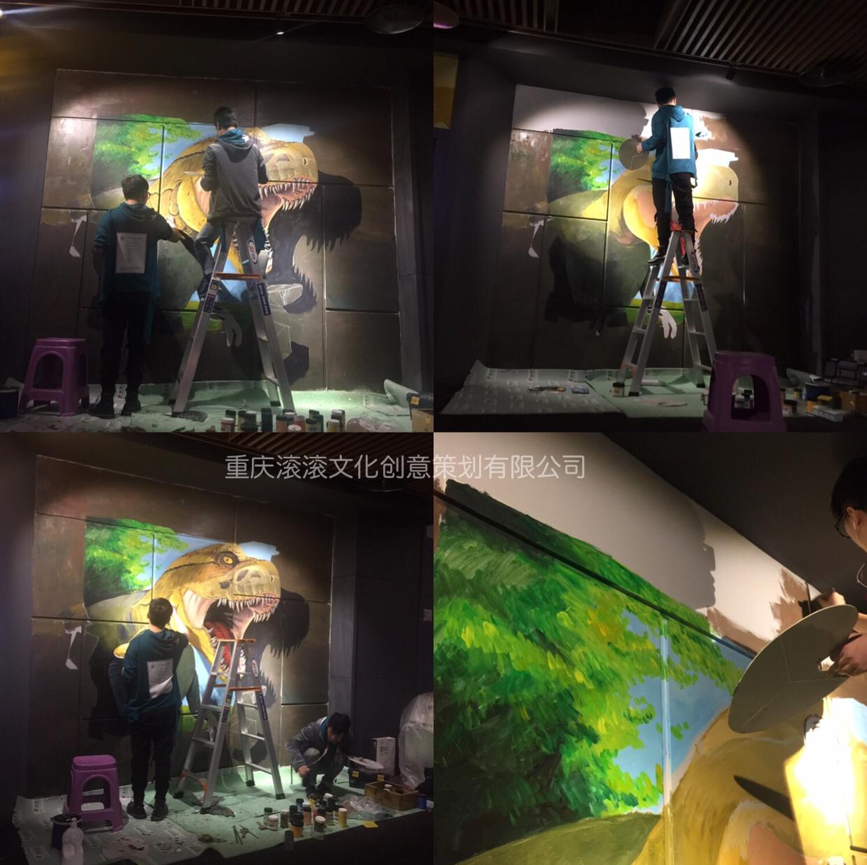 綦江万达影城整版3d墙绘刺花的电影完恐龙图片