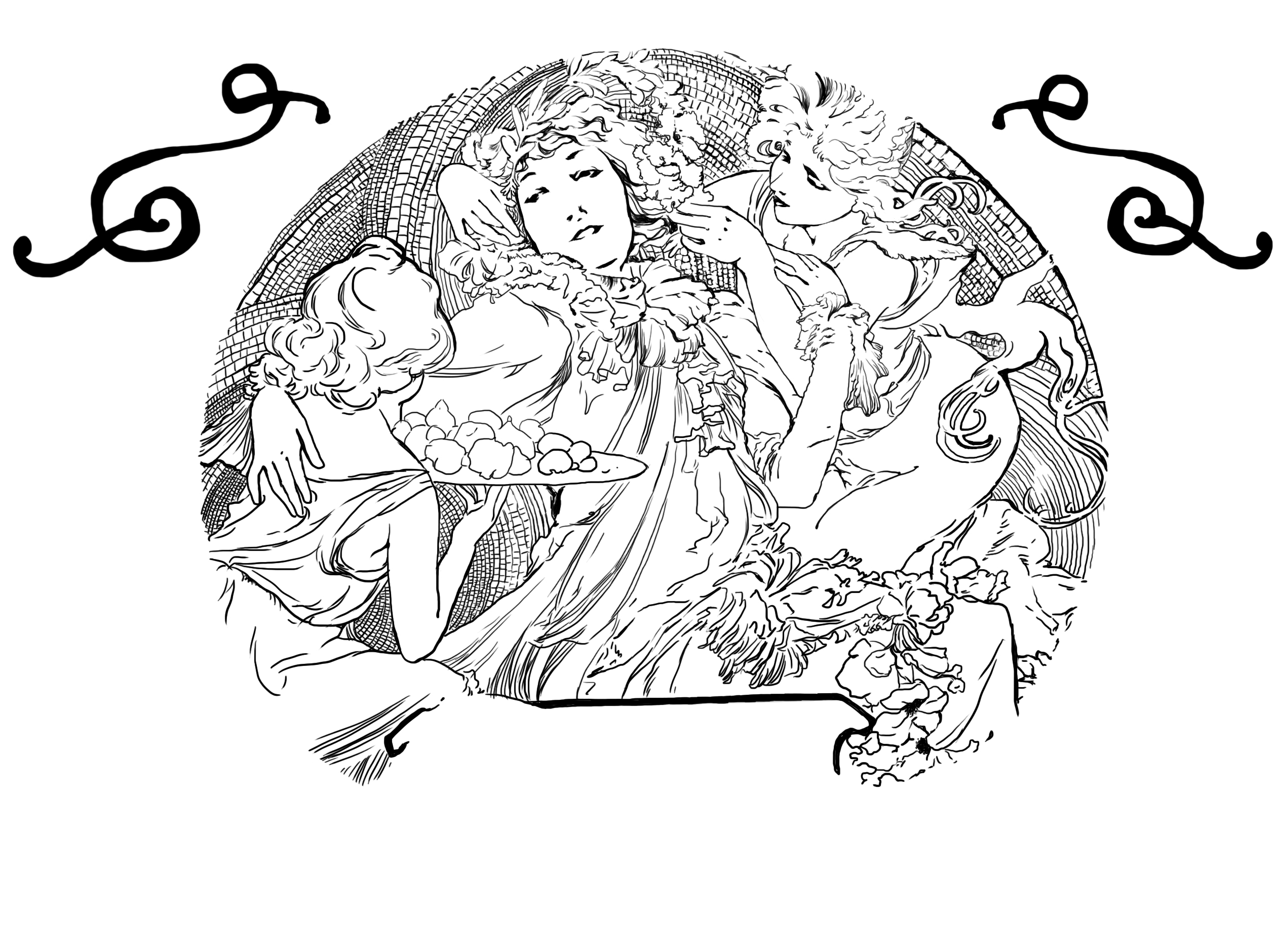 紫月 手绘 宫廷 女神