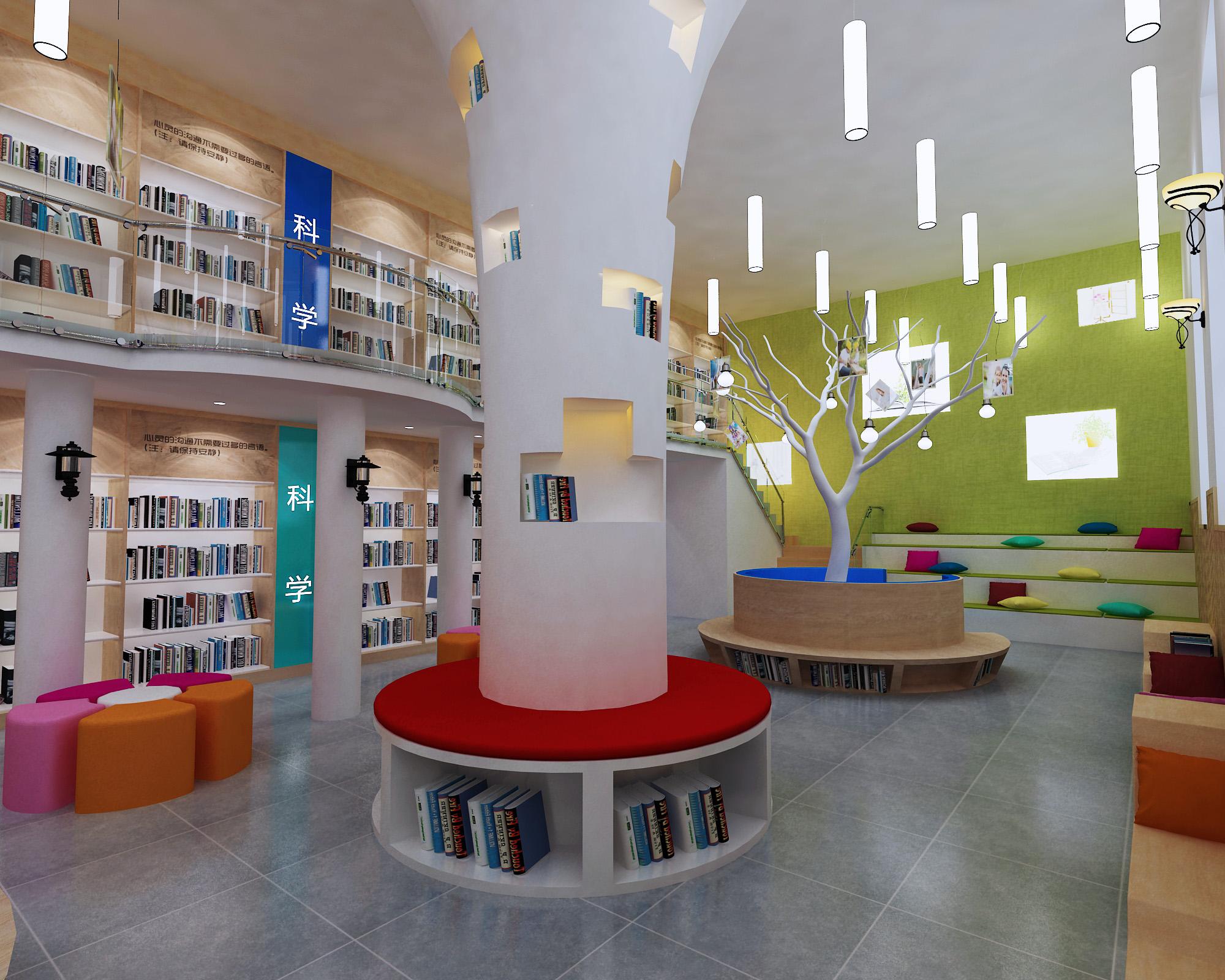 北京x校园文化室内图书阅览室