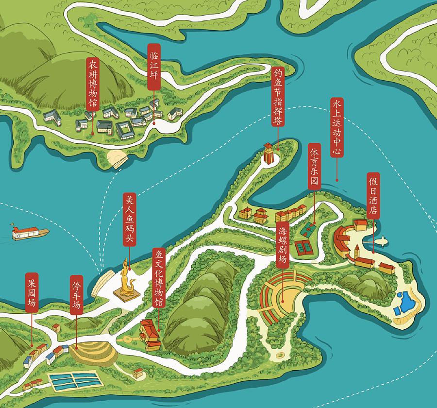手绘地图_升钟湖_含设计分析|商业插画|插画|好个小