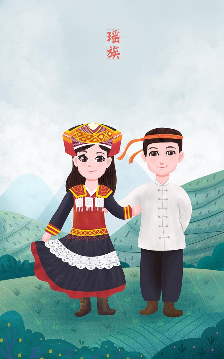 56个少数民族旅行风景插画