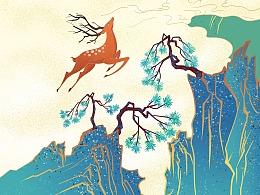 《神鹿》国画板绘插画