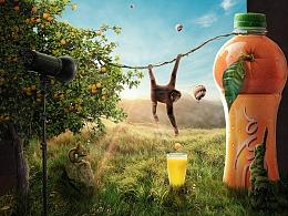 创意橙汁合成海报