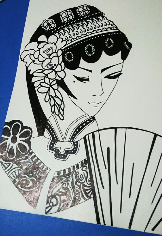 书黑白手绘图案