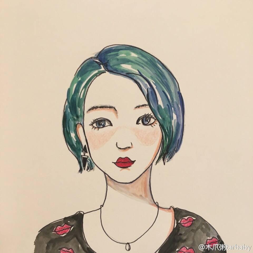 手绘 水彩 头像
