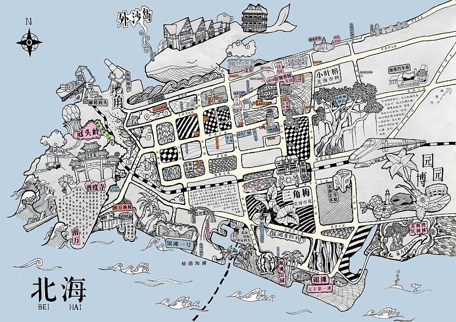 广西北海-第一份手绘地图|绘画习作|插画|ta叫谢小君