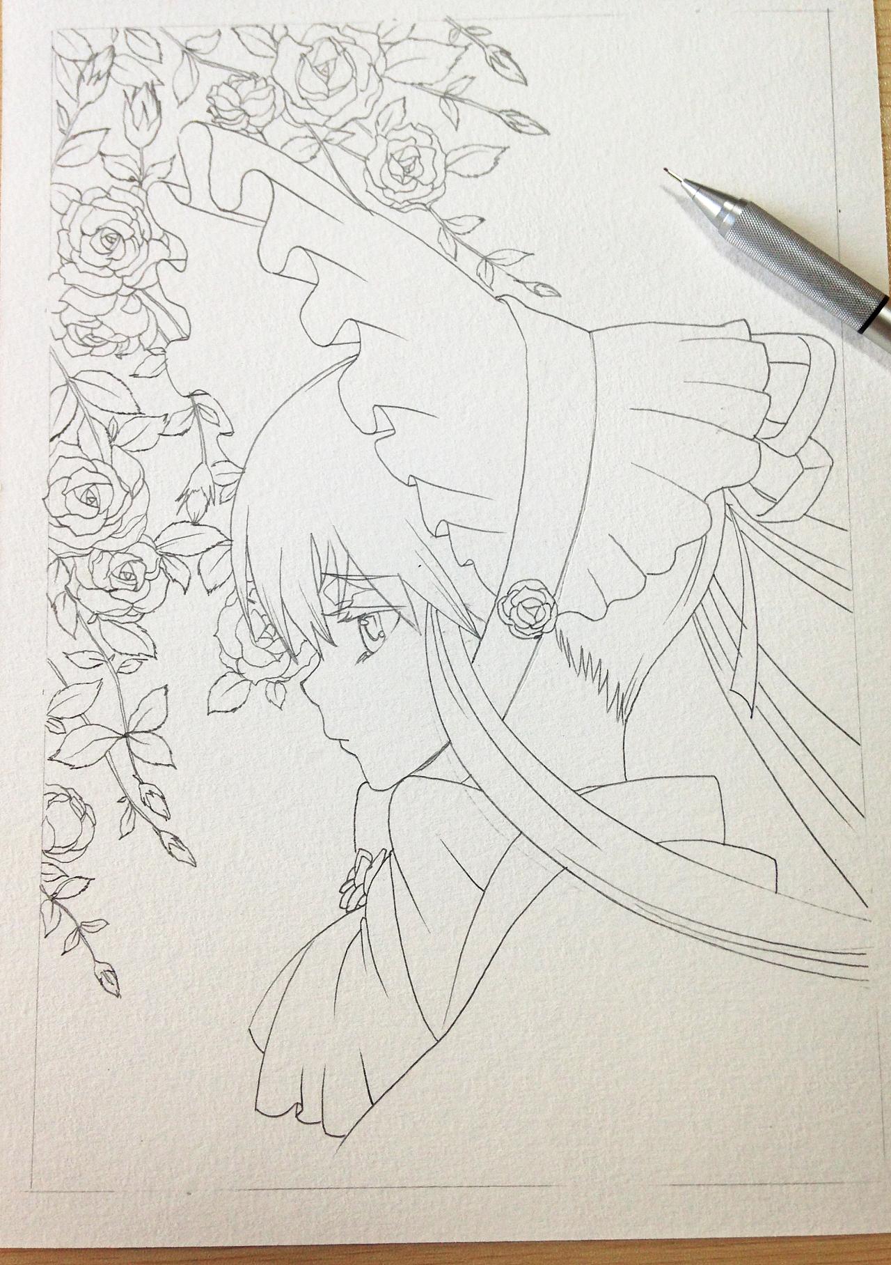 蔷薇少女 水彩漫画