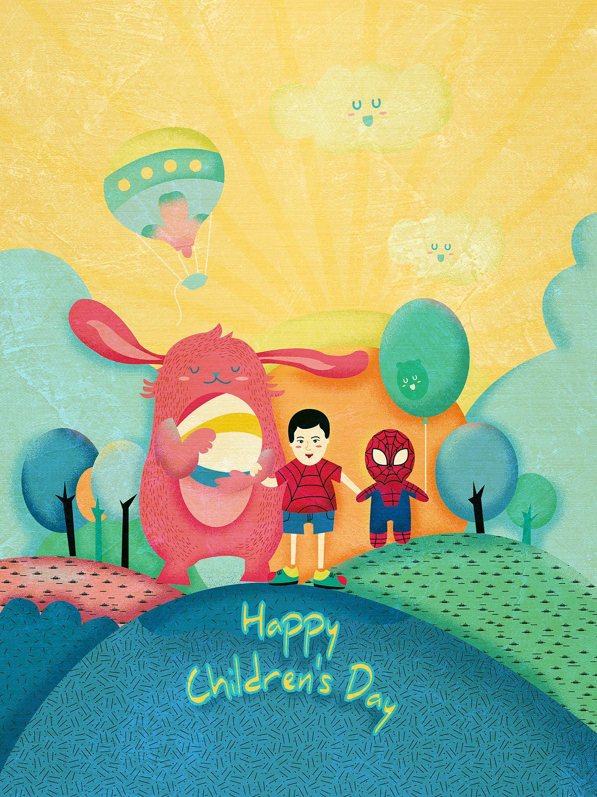 六一儿童节卡通节日插画