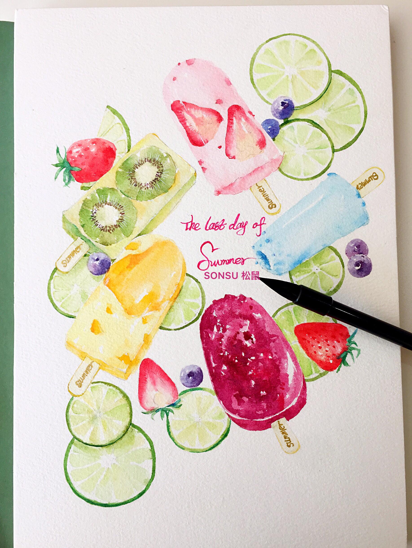冰淇淋水彩笔画