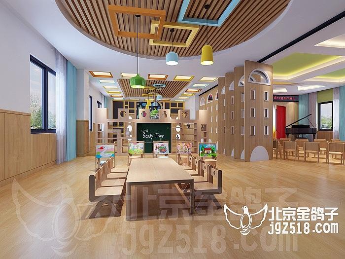 空间整体色调统一,吊顶用不同的造型及颜色搭配突出一些儿童美术空间图片