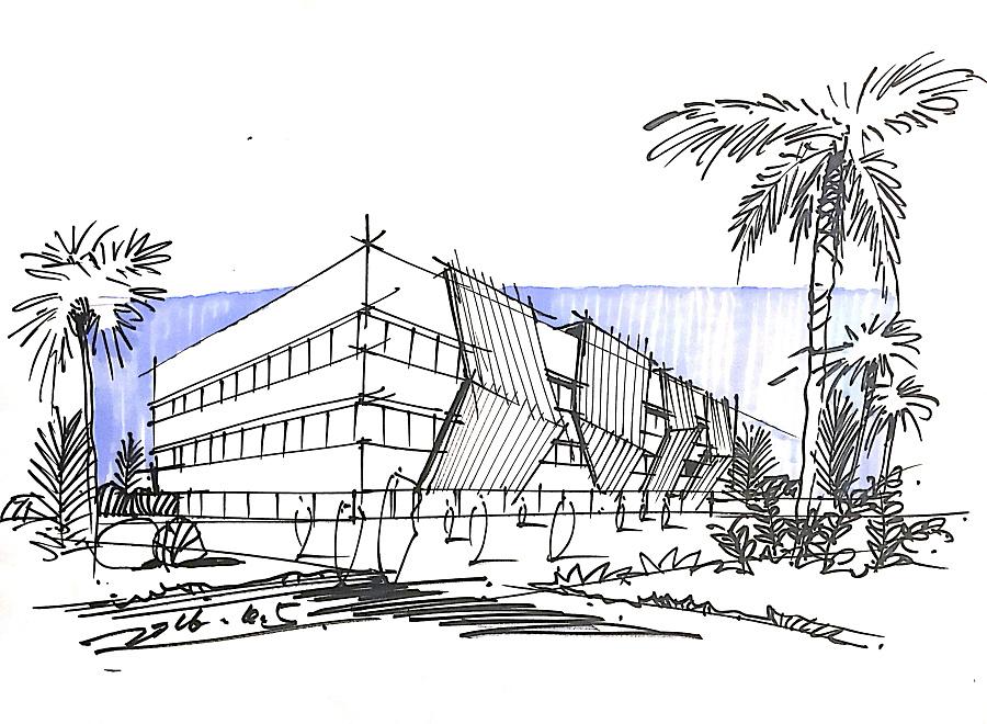 马克笔建筑手绘明信片|建筑设计|空间/建筑|tyj毕下
