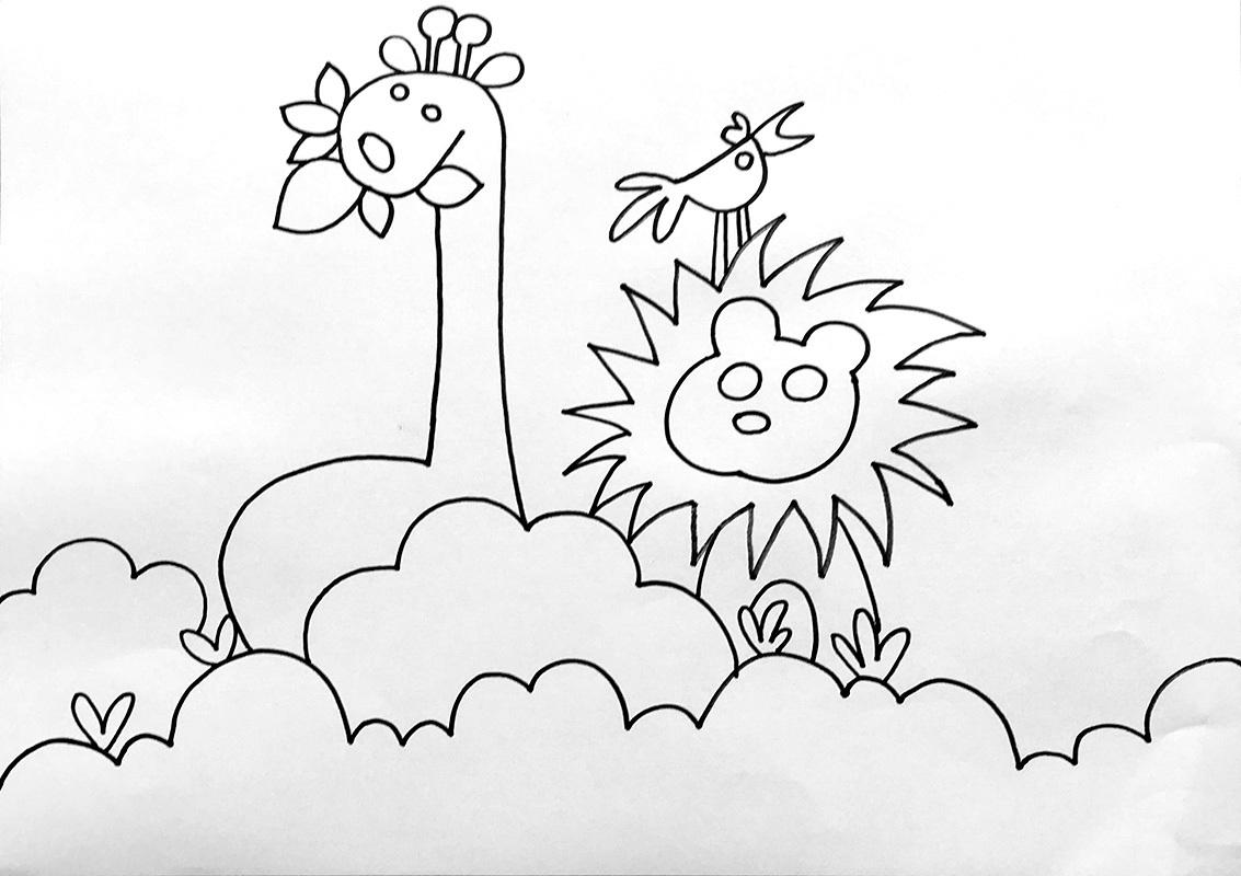 儿童画水彩笔-热闹的森林图片