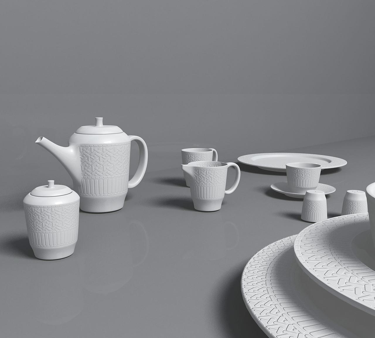 茶壶三维图手绘