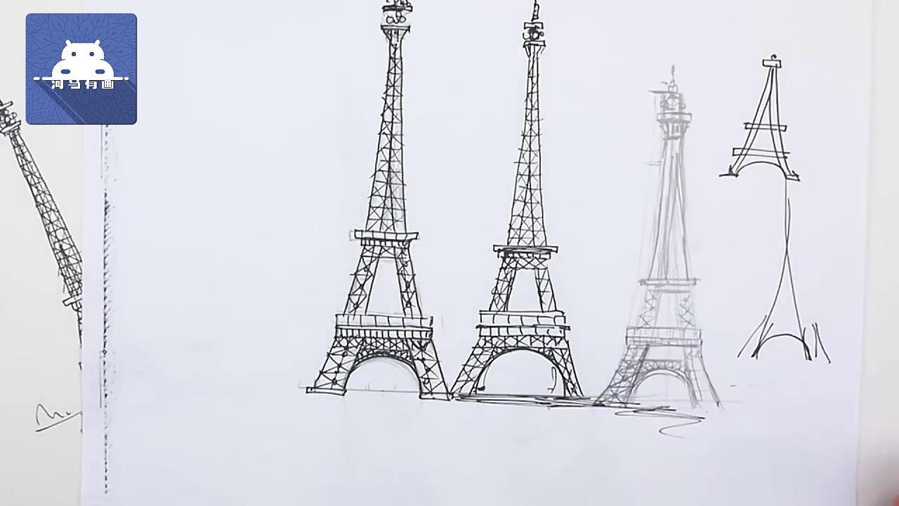 一支铅笔,画一个3D立体的巴黎埃菲尔铁塔图片