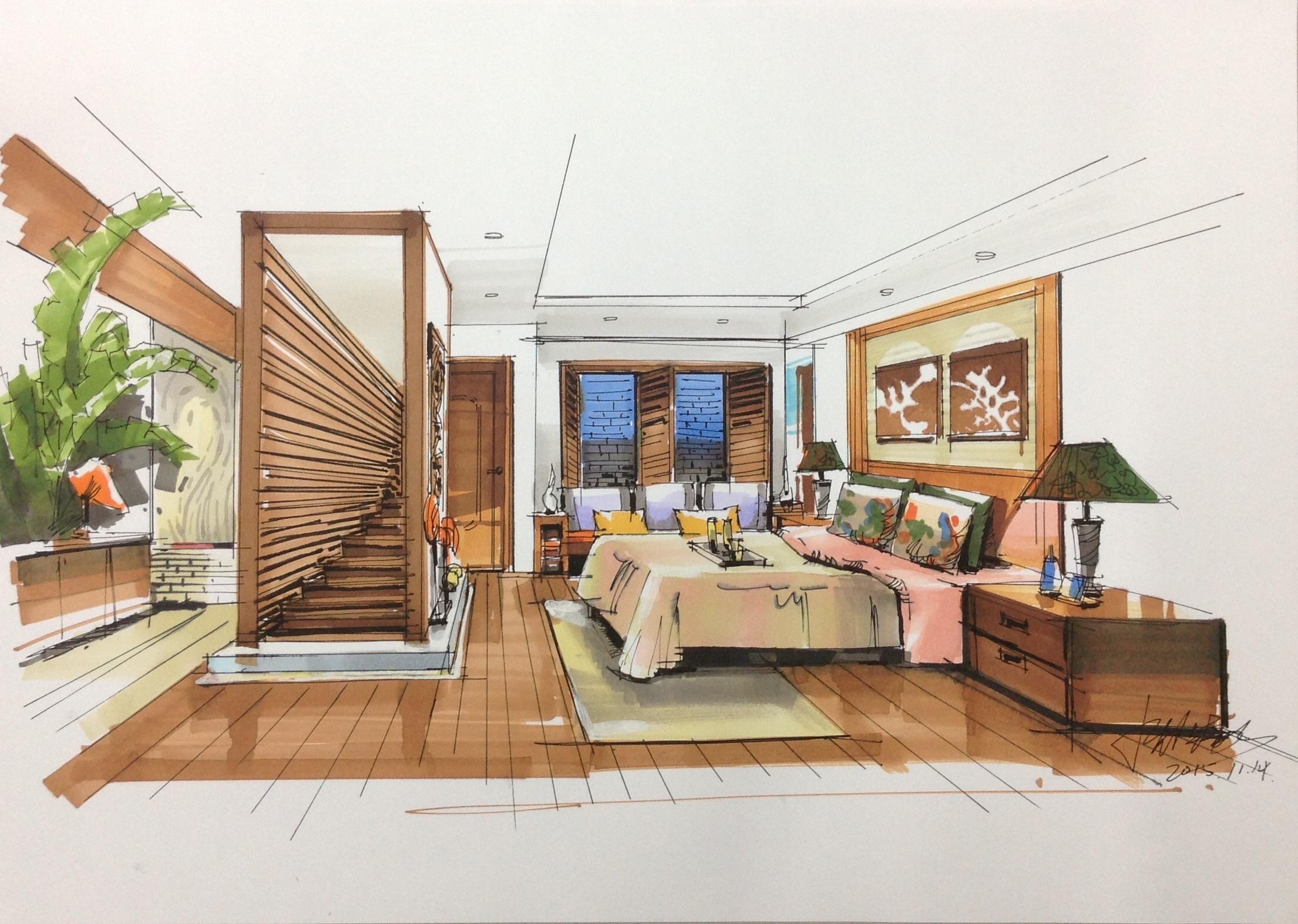 手绘|空间|室内设计|沈佳豪 - 原创作品 - 站酷