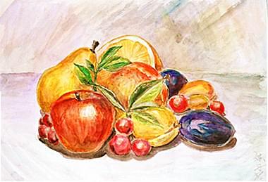 水果静物水彩画
