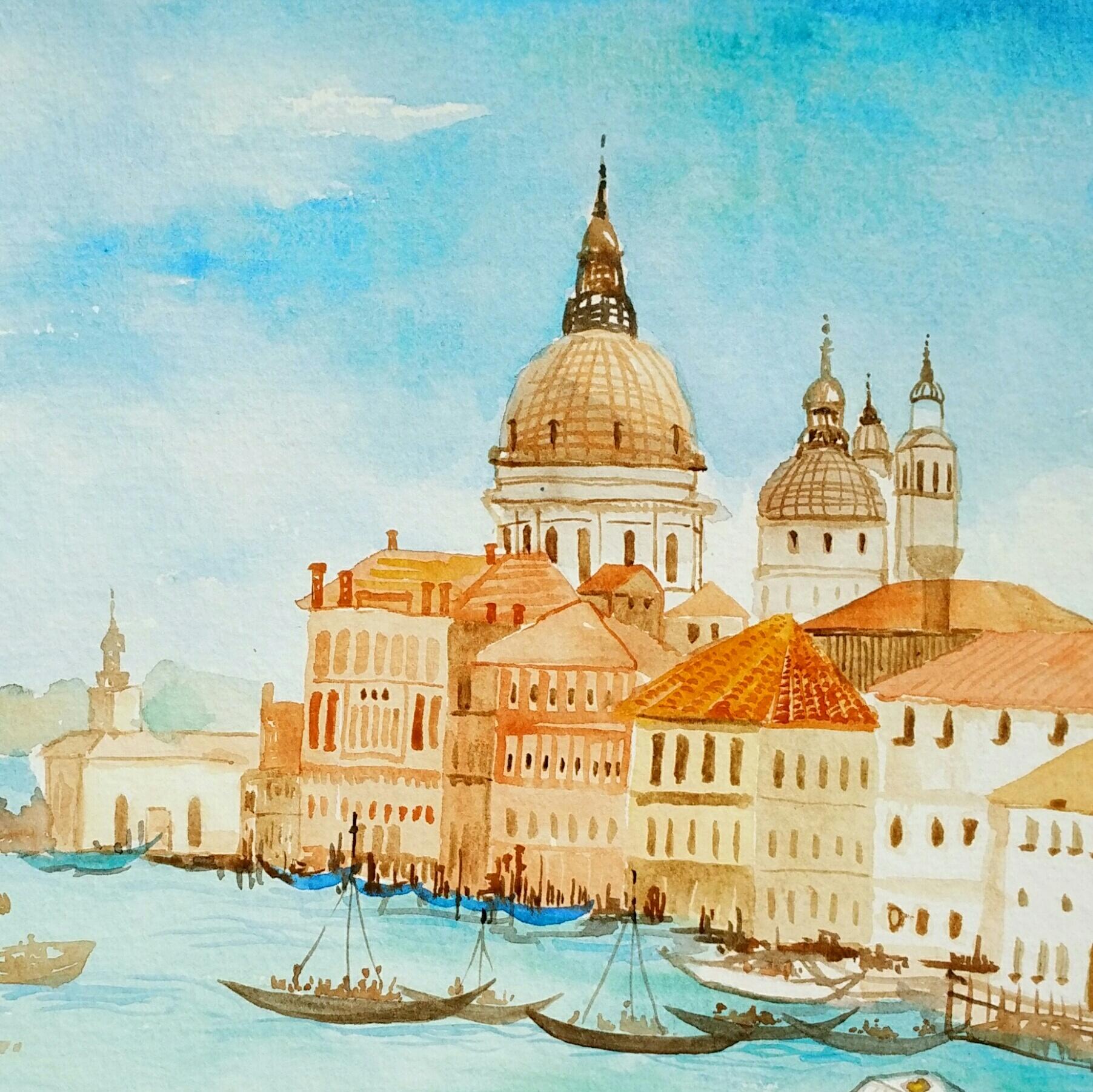 水彩城堡风景图片