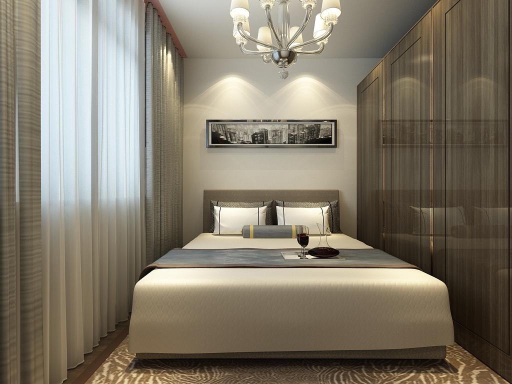 暖灰色的墙面,以及石膏线吊顶,搭配米黄色沙发,木色的电视柜,使得这种