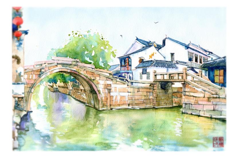 手绘城市系列——《苏州周庄》|商业插画|插画|阿骨