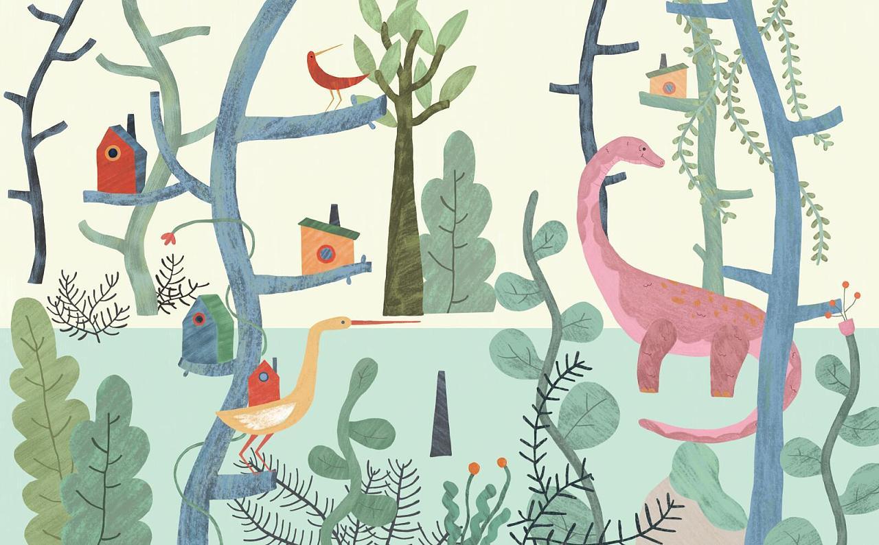 思舍布莱曼手绘卡通森林壁纸男孩卧室背景墙壁画艺术创意儿童墙纸