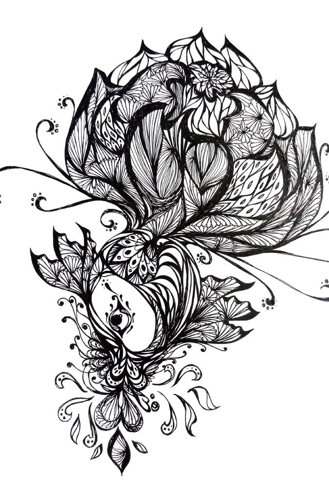 黑白手绘|其他绘画|插画|l