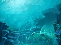 海底游戏场景龙骨化石主题