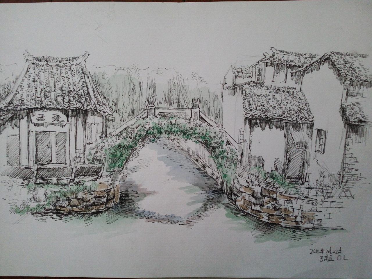 香港捕鱼钢笔手绘