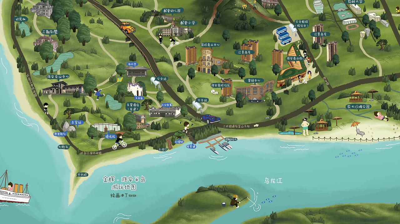 金辉淮安半岛 手绘游玩地图