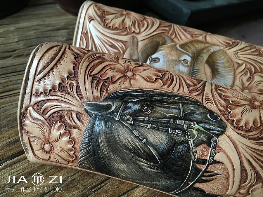 太原 甲子工作室 甲子皮雕 原创唐草动物眼镜盒