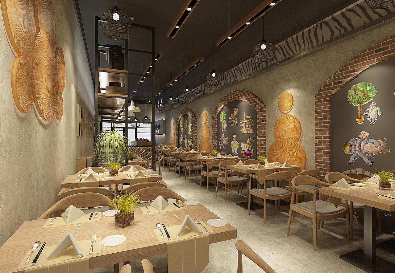 面馆店面设计效果图|空间|展示设计 |餐饮新时代