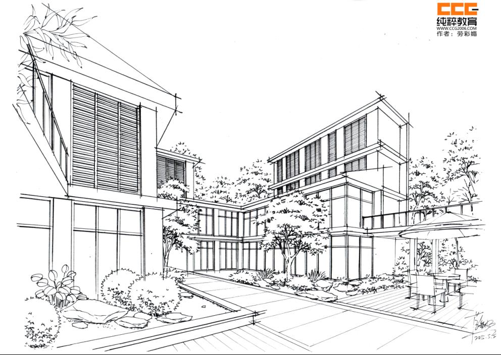 2,建筑手绘表现的作用  第二阶段: 建筑手绘表现的基础知识  1 ,线条