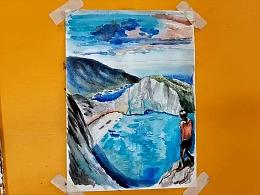 水彩画蓝宝石的海湾小岛-小尤说画