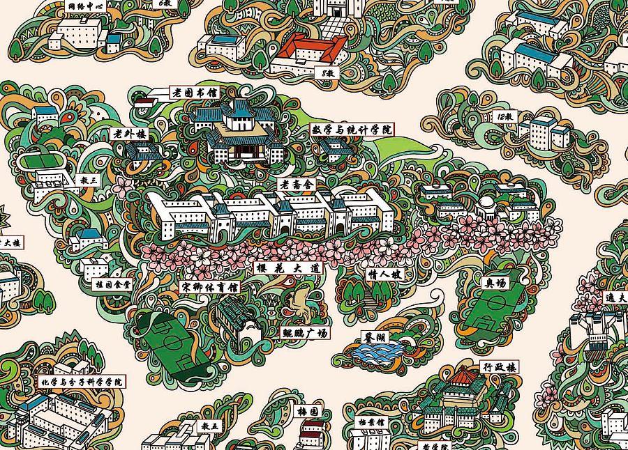 武汉大学手绘地图 |商业插画|插画|PeteZheng -