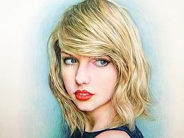 彩色铅笔画泰勒斯威夫特—Taylor swift
