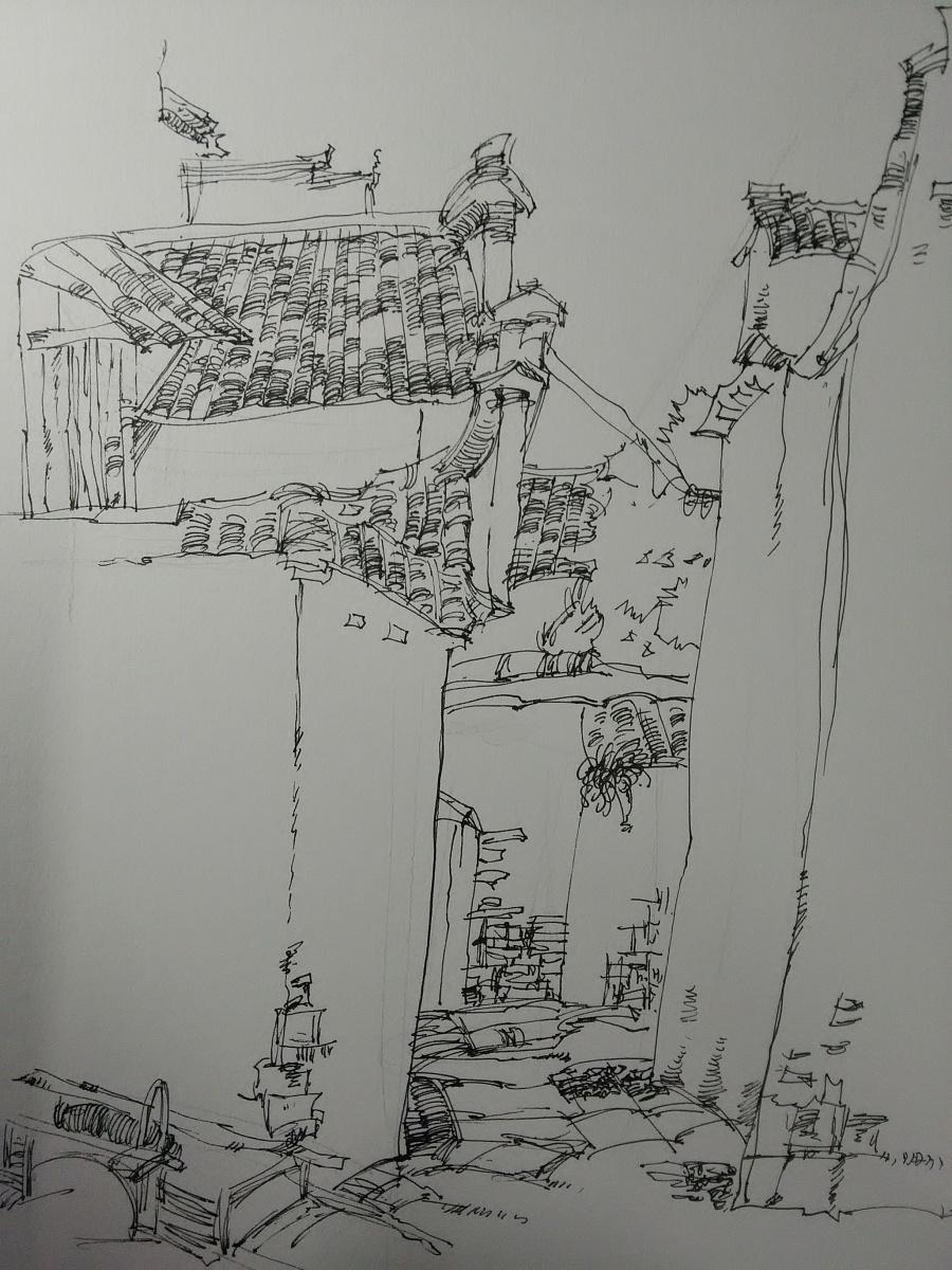 手绘钢笔画