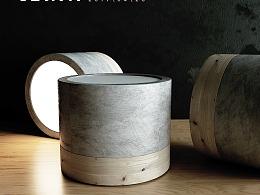 原木混凝土筒灯建模渲染