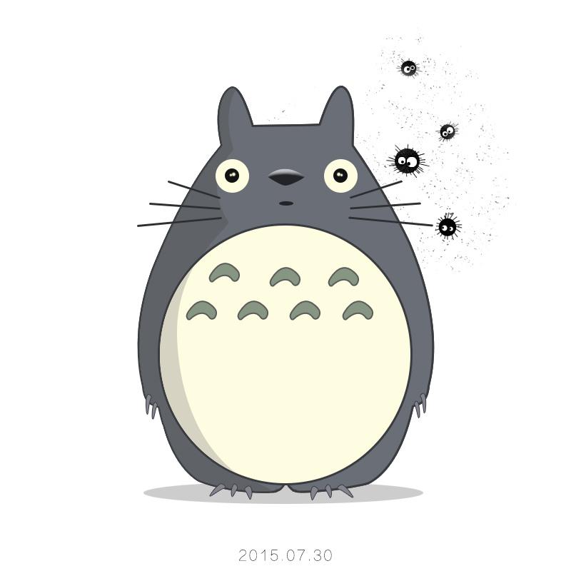 笔画漫画人物龙猫