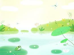夏天·荷叶上一只呆呆的青蛙