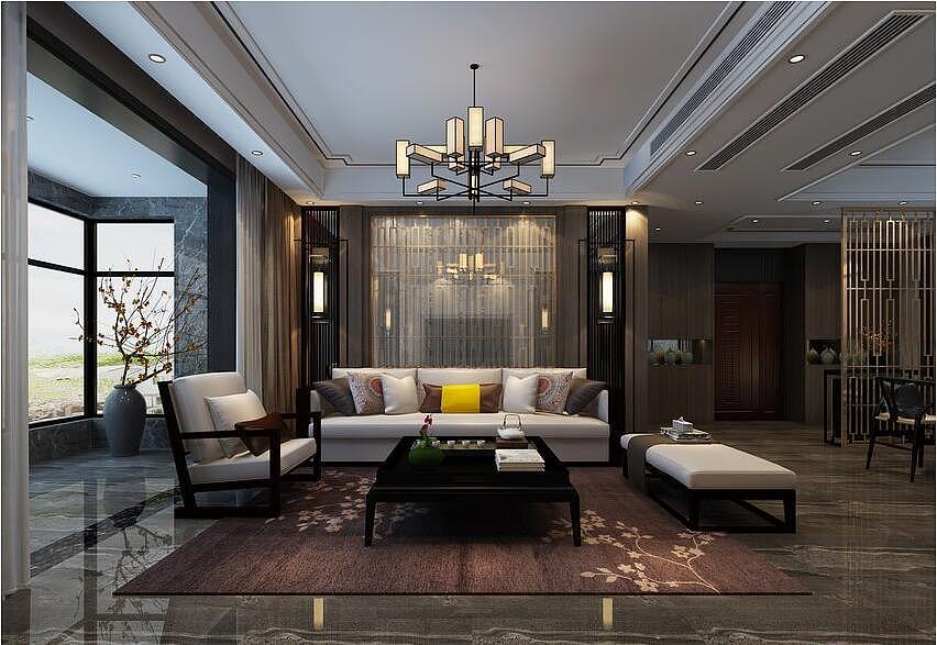 锦美南华府装修效果图180平四室两厅新中式风格设计---沙发背景墙