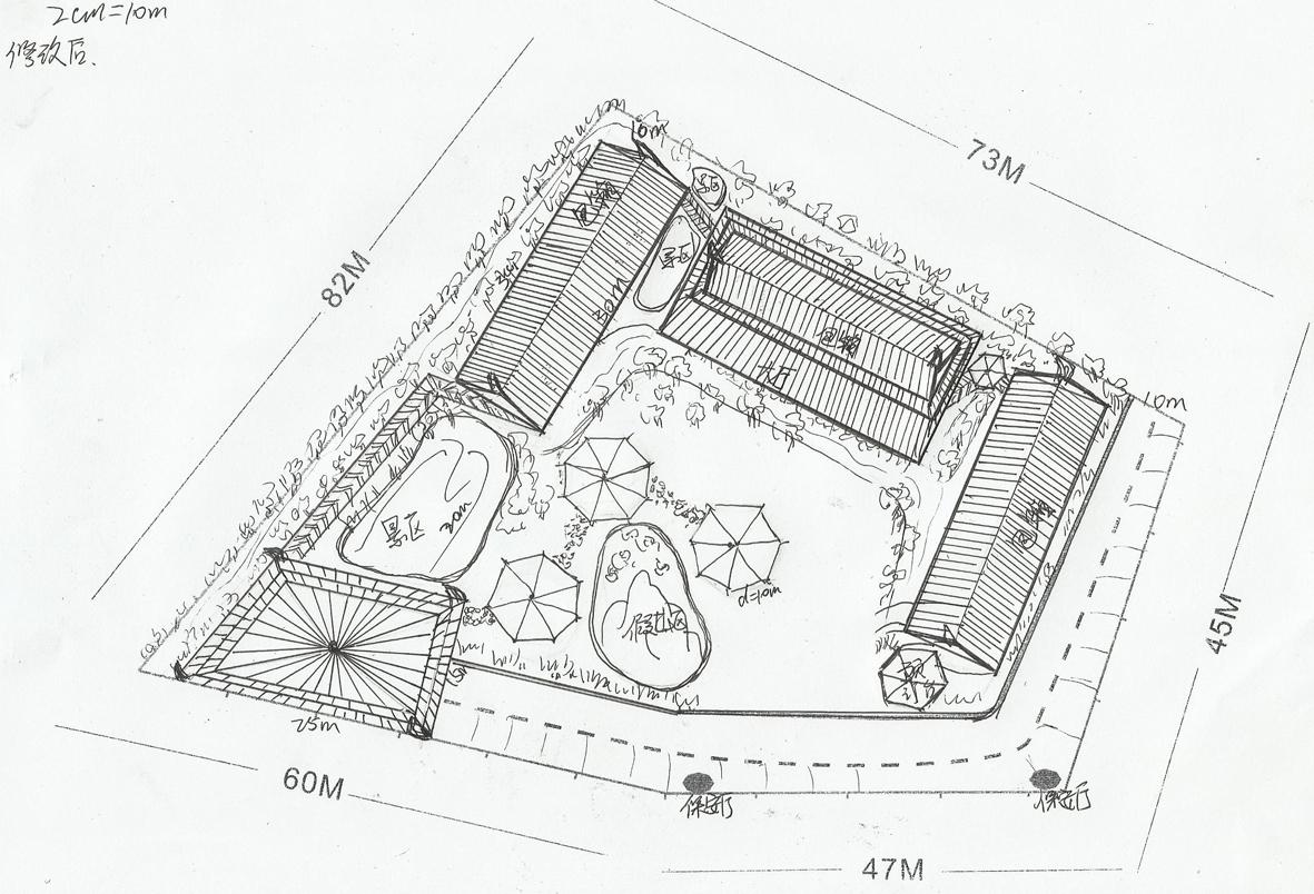 园林设计图手绘平面图道路展示