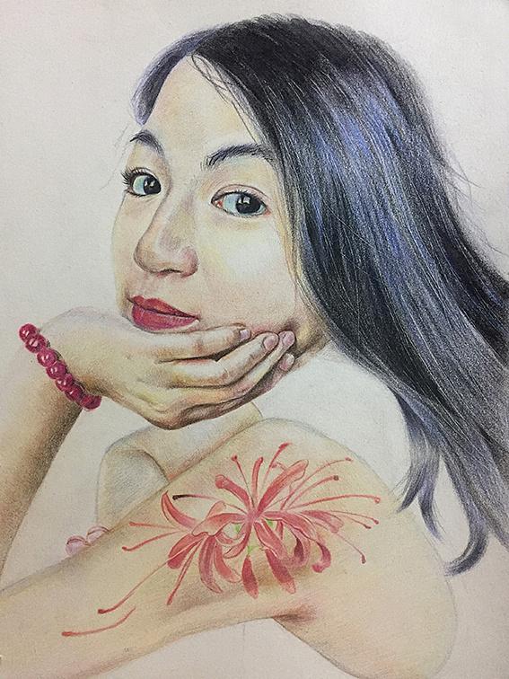 彩铅画人物手绘简单女生